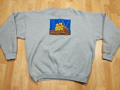 VINTAGE 20TH CENTURY FOX SZ XL Gray Embroidered LOGO crew SWEATSHIRT STAINS