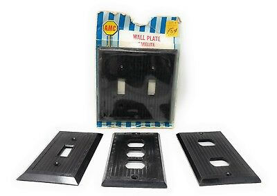 Lot of 4 Art Deco Ribbed Sierra Brown Bakelite Light Switch & Outlet Wall Plates