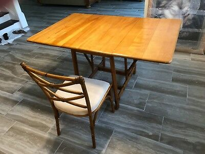 Heywood Wakefield Rattan Drop Leaf Table and Chairs!!