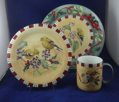 3 piece unused Lenox Winter Greetings Everyday Goldfinch place setting
