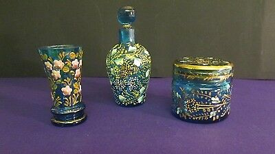 Moser Bohemian Miniature perfume Bottle, Vase and Pot