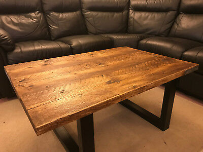 Rustic Coffee Table, Vintage Industrial Solid Wood Top, Metal Legs, Scaffold