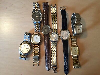 Lot Of 8 Vintage Mens Wristwatches-Wittnauer Seiko Geneva Caravelle