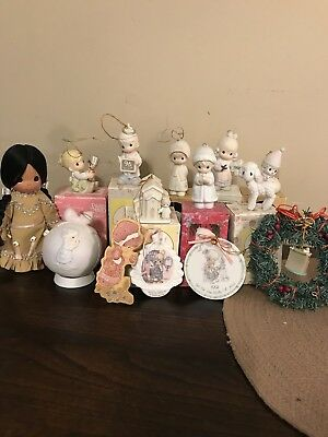 12 Vintage Precious Moments Christmas Ornaments 1 lamb 1 indian doll wreath