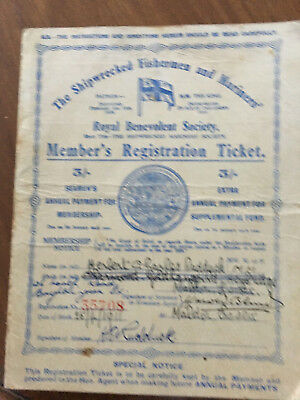 The Shipwrecked Fishermen and Mariner's Member's registration certificate1945-52