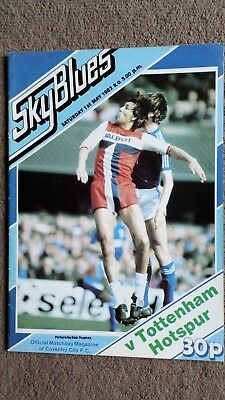 Coventry city v Tottenham hotspur football programme 1982