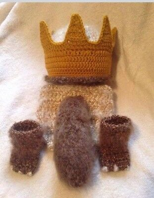 Handmade Crochet Baby Hat/ Diaper Cover Set/ Where The Wild Things Are/ NB-3m