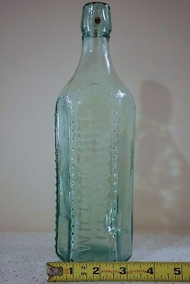 "Hexagonal, William Hill, Glasgow, Antique Aqua Poison Bottle 11"" Tall"