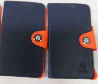 2 * Blue and Orange Samsung Galaxy Note 2 Bookfold Flip Cases