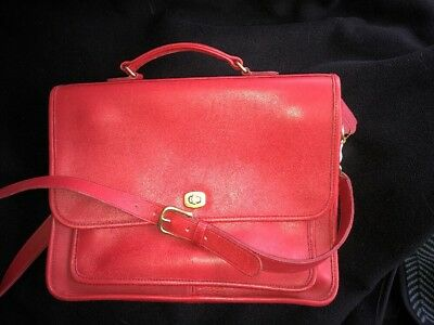 Vintage COACH Red Leather Shoulder Bag/Briefcase Made In United States