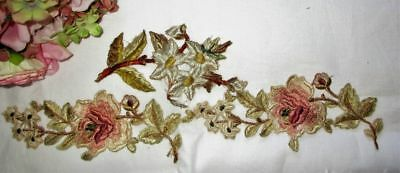 Antique Lot Of 2 Hand Made Fine Silk Embroidered Motifs~Appliques~Dress Trims