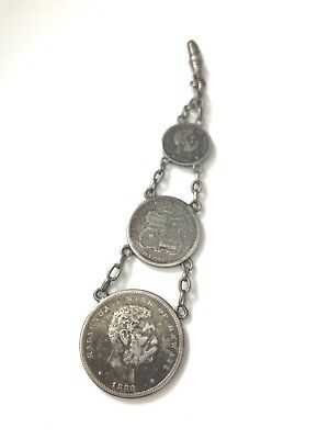 1883 Silver Kingdom Of Hawaii 10C, 25C And 50C Coins Vintage Watch Fob