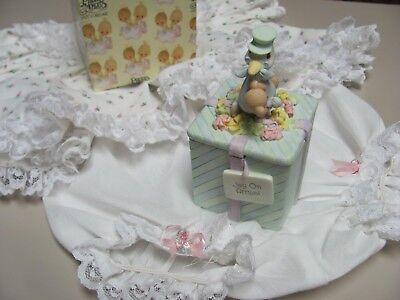 Precious Moments-Stork with baby bear-reversible lid-mint green-other pastels