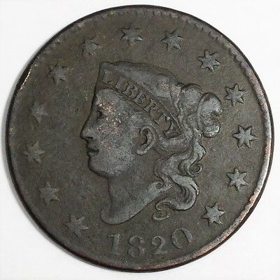 1820 Coronet Head Large Cent Beautiful Coin Rare Date