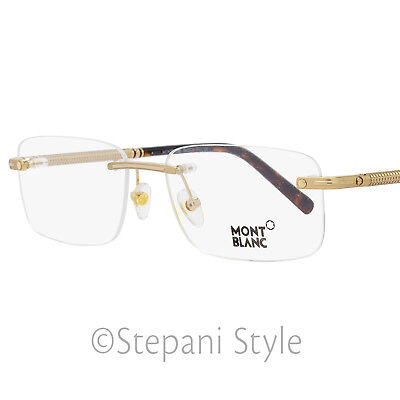 a493ac2ad6e Montblanc Rimless Eyeglasses MB538 A28 Size  55mm Rose Gold Dark Havana 538
