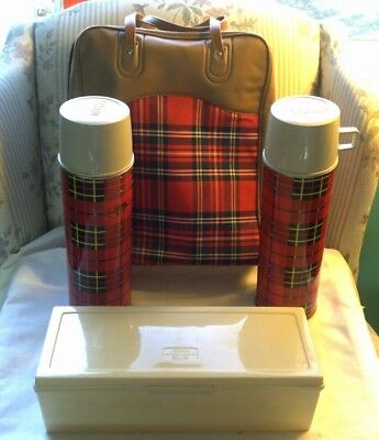Vintage King Seeley Red Plaid Thermos Bottle Picnic Set