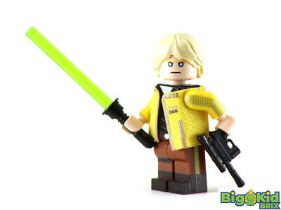 Custom Star Wars minifigures Luke Skywalker yellow jacket on lego brand bricks