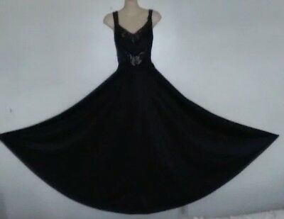 """VTG Black Undercover Wear Olga Style Nightgown 190"""" Sweep Size Large"""