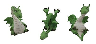 Dragon Dragons Statue Figurine Ornament Sculpture Fairy Garden Small Cute Set/3