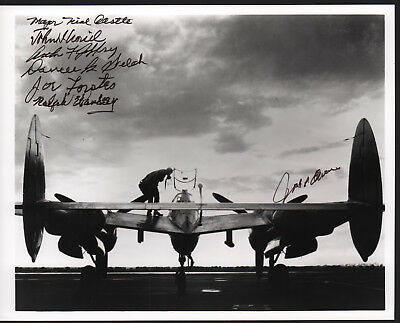 ONE of A KIND SIGNED B/W WW II P-38 FIGHTER PHOTO by (7) LEGENDARY FIGHTER ACES!