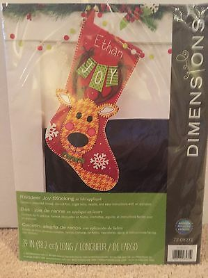 Dimensions Reindeer Joy Stocking In Felt Appliqué