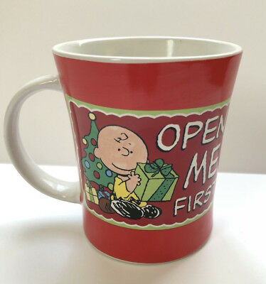 Peanuts Snoopy Charlie Brown Christmas Open Me First Mug by Gibson | USED #A8