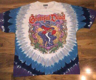 Vtg 2000 Grateful Dead Terrapin Moon Tie Dye Shirt Liquid Blue XL Free S&H