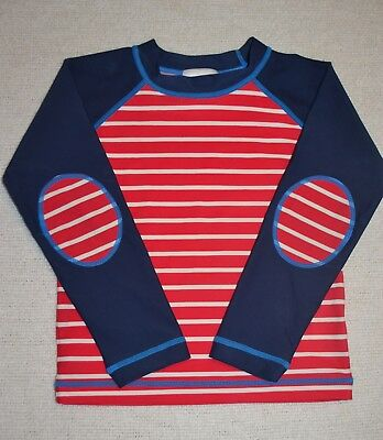 Hanna Andersson Boy's Rash Guard Swim Shirt Size 100 4 4T Red Striped