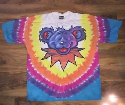Vtg 1999 90's Grateful Dead Bear Tie Dye Shirt Liquid Blue XL Free S&H