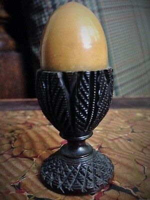 Exquisite Victorian Treen Ware Carved Egg Sewing Spool Holder.