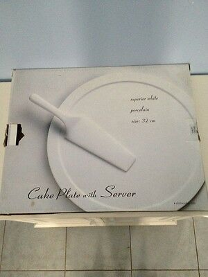 2 X Porcelain Cake Plates With Servers  Size 32 Cm