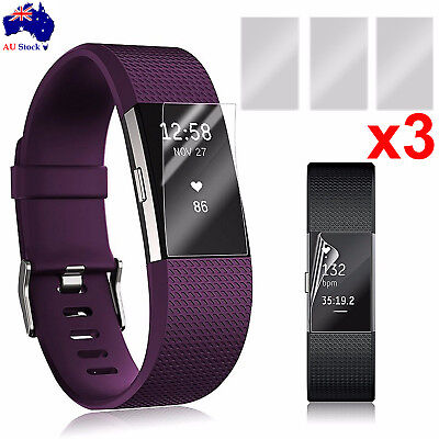 3 Anti-Scratch Waterproof Screen Protector Film Shield Guard For Fitbit Charge 2