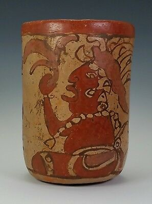 Antique Ancient Pre Columbian Mayan Pottery Cylinder Vessel W/ Figure Decoration