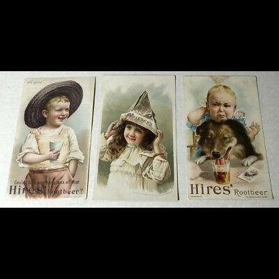 3 orig 19th century Victorian era Trade cards for Hires Root Beer soda - L@@K!