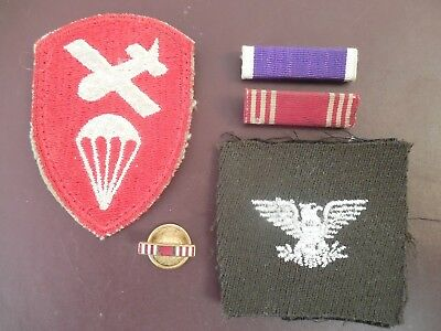 WWII Patch Lot US Army Airborne Colonel Military Ribbons Pins Insignia Rare P499