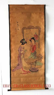 Old Collection Scroll Chinese Painting /Two Beautiful Women Play Chess  ZH1005
