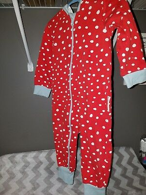 purl lamb 12-18mo romper girl/boy red with white polka dots and blue ears EUC