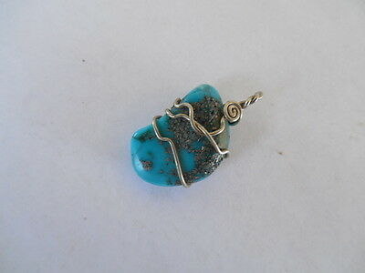 Vintage Silver Tone Wire Wrapped Turquoise Nugget Pendant