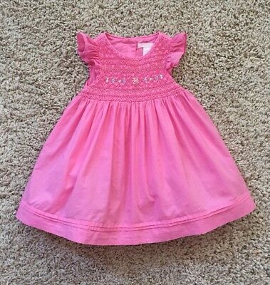 Janie And Jack Baby Girls Butterly Dream Pink Smocked Dress. Size 12-18 Months