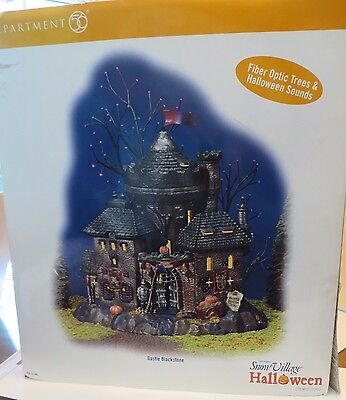 Dept 56 Snow Village Halloween~Castle Blackstone Fiber Optic Lights Sounds