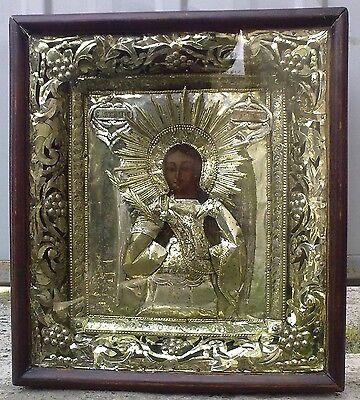 """Antique 19c Russian Orthodox Paper Wood Icon """"the Archangel Michael"""""""