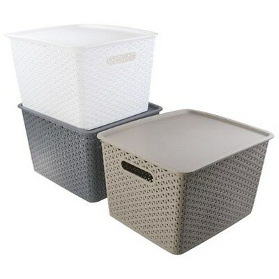 New Rectangle Multi-Use Plastic Wicker Basket w Lid Home Office Storage 2 Size