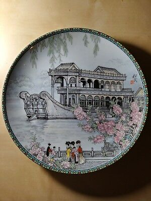 Imperial-Jingdezhen-Porcelain-The-Marble-Boat-Plate-China-Scenes-Palace  Imperi