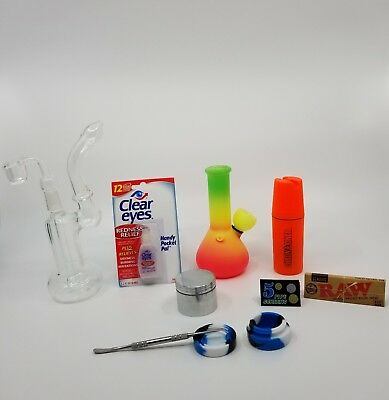 Mini Hookah 5 inch Glass Water Pipe Bong and 7 inch Rig Combo with extras