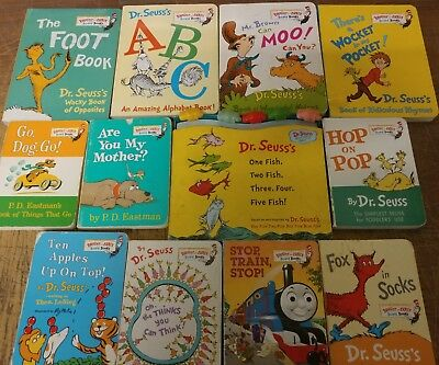 Lot of 12 Dr. Seuss Bright and Early Children Kids Read BOARD Books Ear Eye #G52