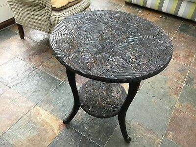 Vintage Arts & Crafts  Round Table. Beautifully Carved . Ebony Colour Solid Wood