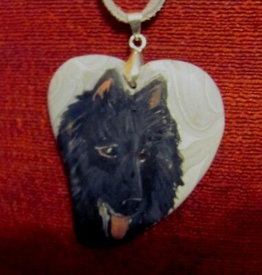 "Belgian Sheepdog hand painted on a 2 1/2"" heart shaped Agate pendant/bead/neckla"