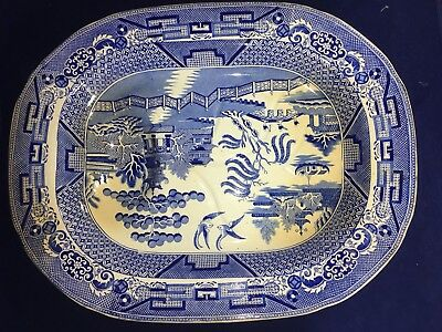 """EARLY GIGANTIC 19"""" Blue Willow Serving  Transferware Tray Staffordshire Pottery"""