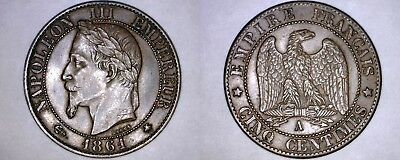 1861-A French 5 Centimes World Coin - France