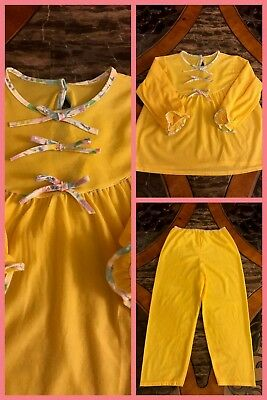 1970s Girls Pajamas Yellow Long Sleeve 2 Pc Bows Elastic Soft NEW VNTAGE Sz 6X